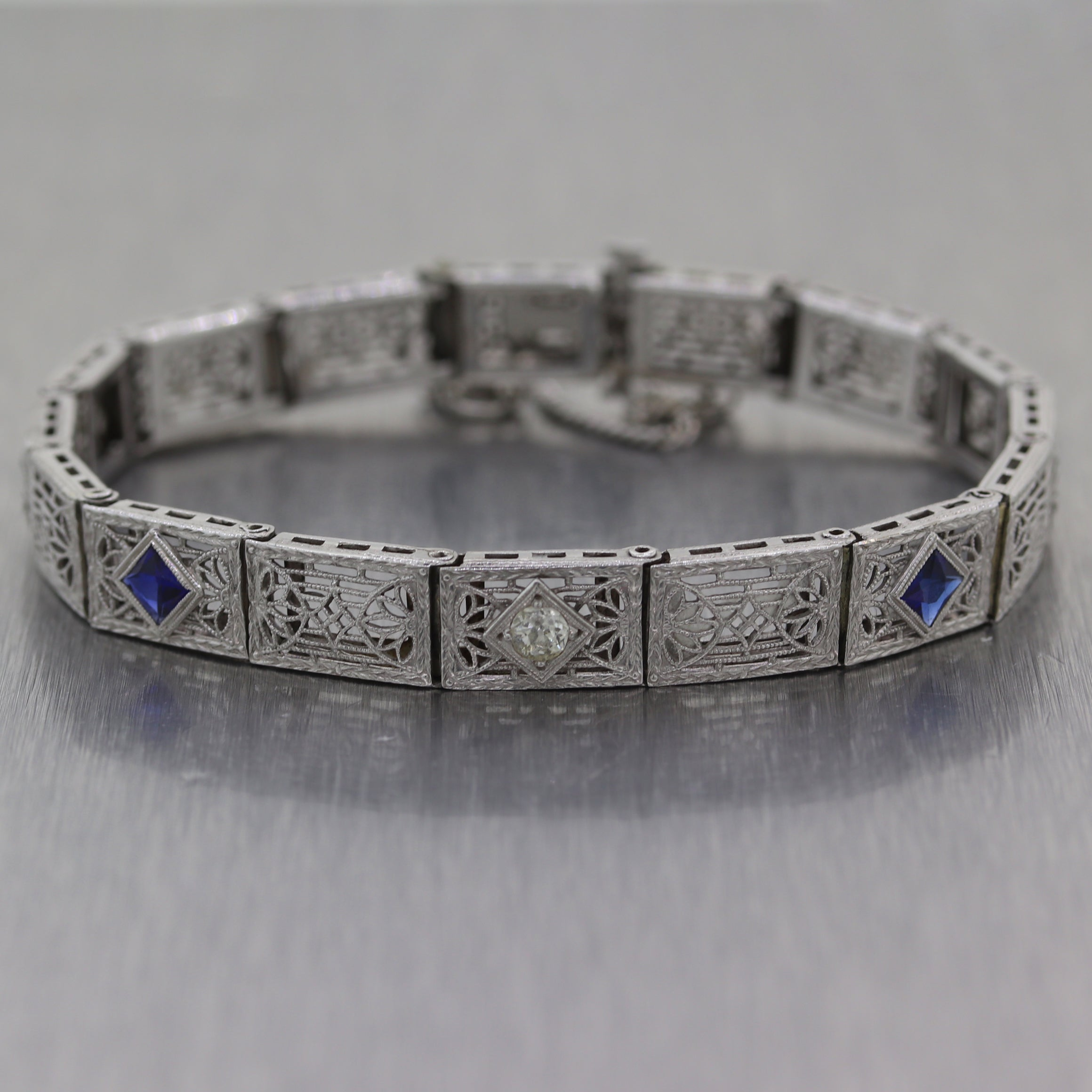 1930 Antique Art Deco 14k White Gold 0.55ct Sapphire & Diamond Filigree Bracelet