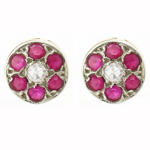 1930 Antique Art Deco Platinum 14k Yellow Gold 0.35ctw Ruby Diamond Stud Earring