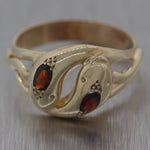 1880's Antique Victorian 9ct Yellow Gold Garnet Double Snake Ring