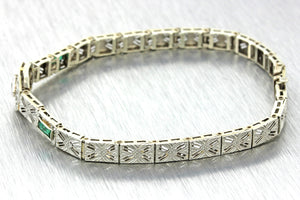 1930s Antique Art Deco 14k Solid White Gold Emerald Diamond Filigree Bracelet