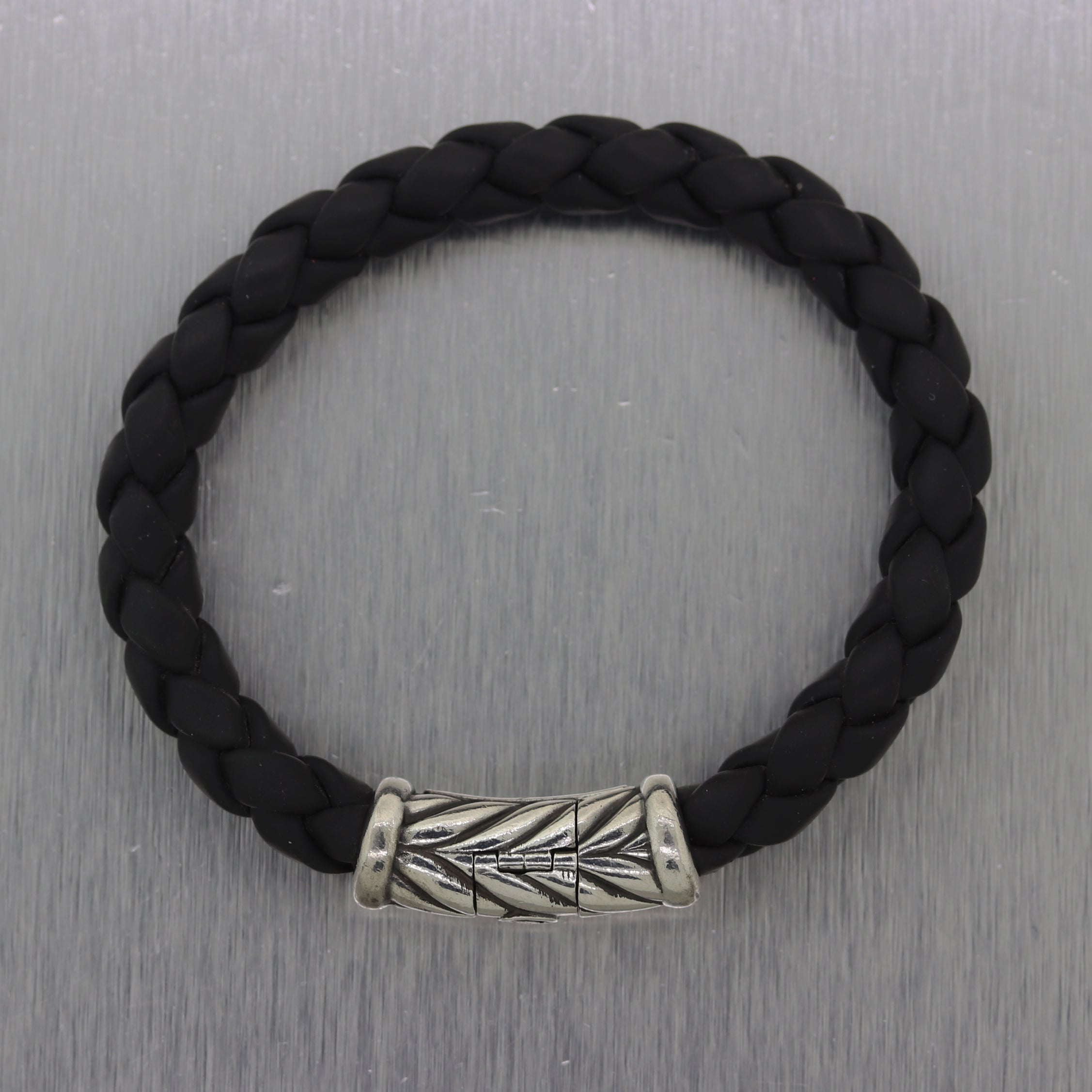 David Yurman Sterling Silver Chevron Woven Rubber Bracelet