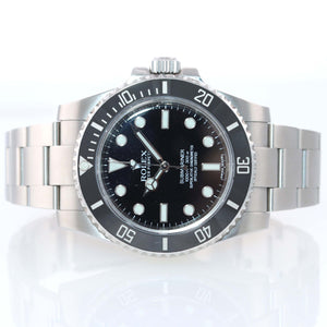 2013 PAPERS MINT Rolex Submariner No-Date 114060 Steel Black Ceramic Watch Box