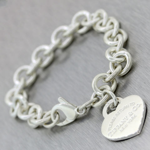 Tiffany & Co. Sterling Silver Please Return Heart Tag Bracelet