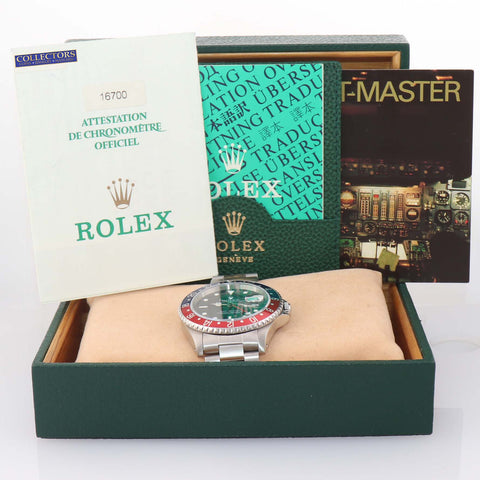 MINT PAPERS Rolex GMT-Master Pepsi Steel 16700 Blue Red 40mm Date Watch A9