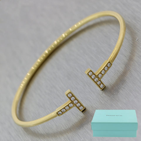 Tiffany & Co. 18k Yellow Gold 0.22ctw Diamond T Wire Bracelet