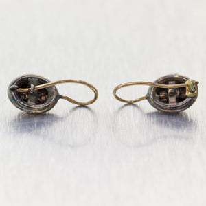 1860's Antique Victorian Sterling Silver & 10k Yellow Gold Earrings