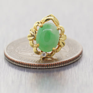 Vintage Estate 14k Yellow Gold 3.04ctw Jade & Diamond Earrings