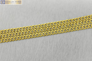 "Mens Italian 21"" 14K Yellow Gold Textured Curb Cuban Link Chain Necklace 15.5gr"