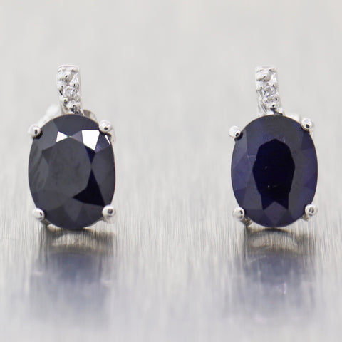 Vintage Estate 18k White Gold 2.82 Sapphire & Diamond Stud Earrings
