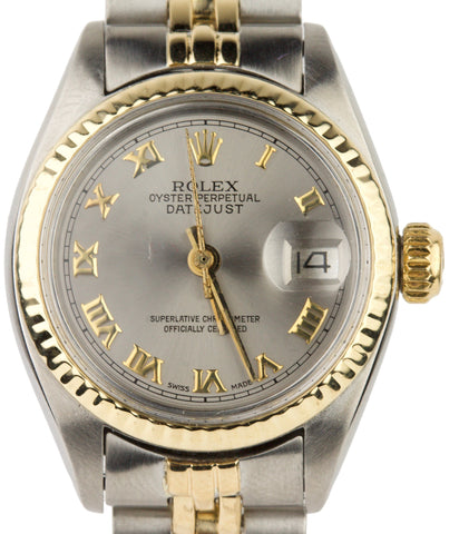 Ladies Rolex DateJust 6917 26mm Silver Roman Numeral Dial 18K Two Tone Watch