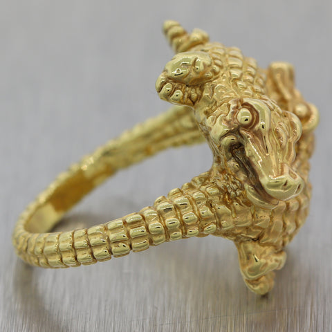Modern 14k Yellow Gold Double Alligator Crocodile Ring