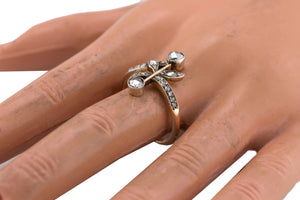 Ladies Antique Victorian 14K Yellow Gold 0.94ctw Rose Cut Diamond Cocktail Ring