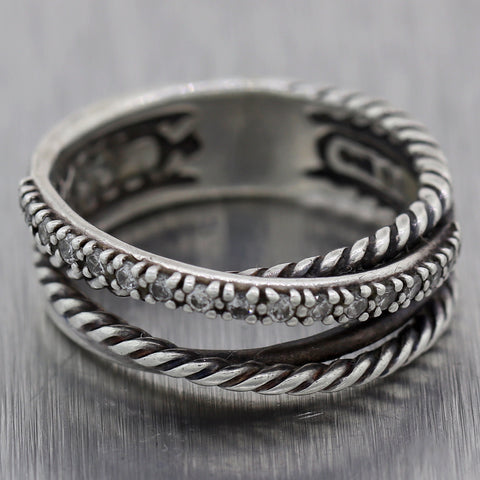 David Yurman Sterling Silver 0.20ctw Diamond Crossover Collection Ring