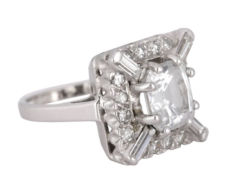 Womens Estate 14K White Gold 3.42 CT White Sapphire Diamond Accent Cocktail Ring