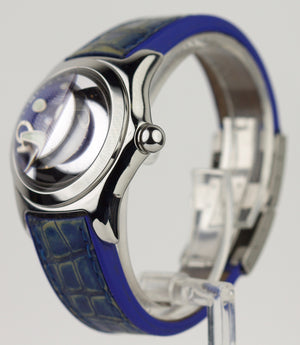 Ladies Corum Bubble Blue Dial Stainless Steel 35mm 39.150.20 Rubber Quartz Watch