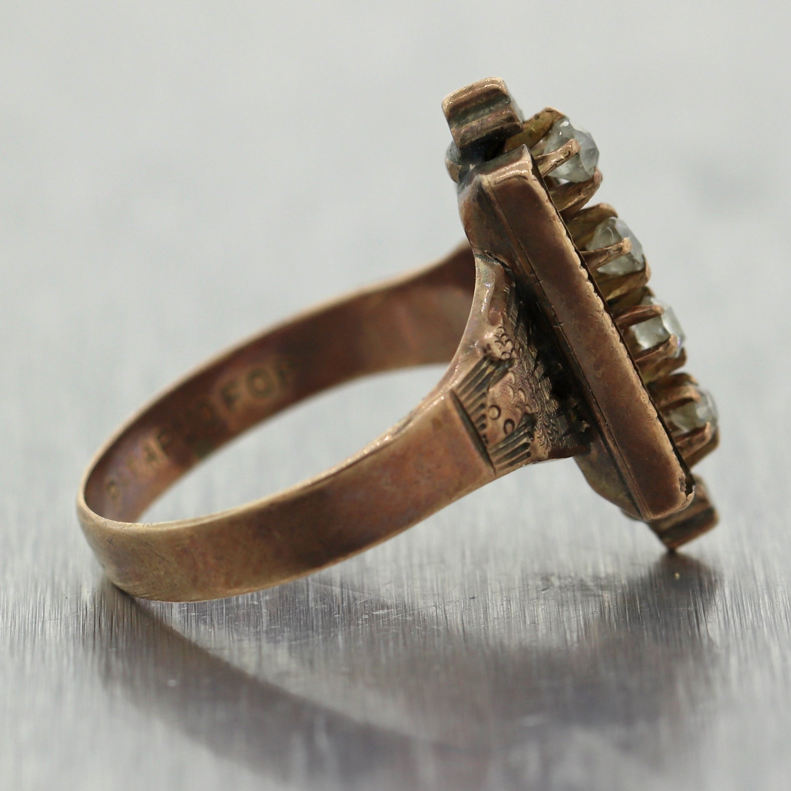 1860's Antique Victorian 10k Yellow Gold 0.25ctw Old Mine Cut Ring