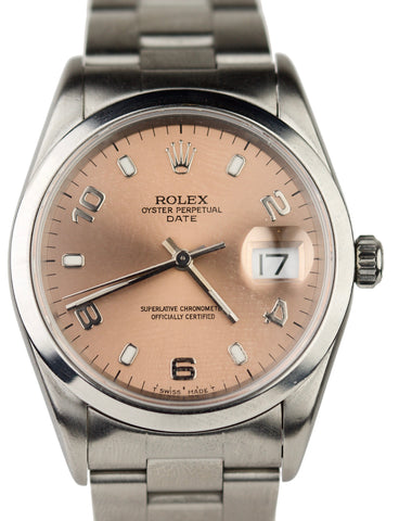 Rolex Date Oyster Perpetual Stainless Steel Salmon Stick 15200 34mm Watch