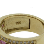 EFFY Designer 14k Yellow Gold 1.20ctw Pink Sapphire .64ctw Diamond Band Ring