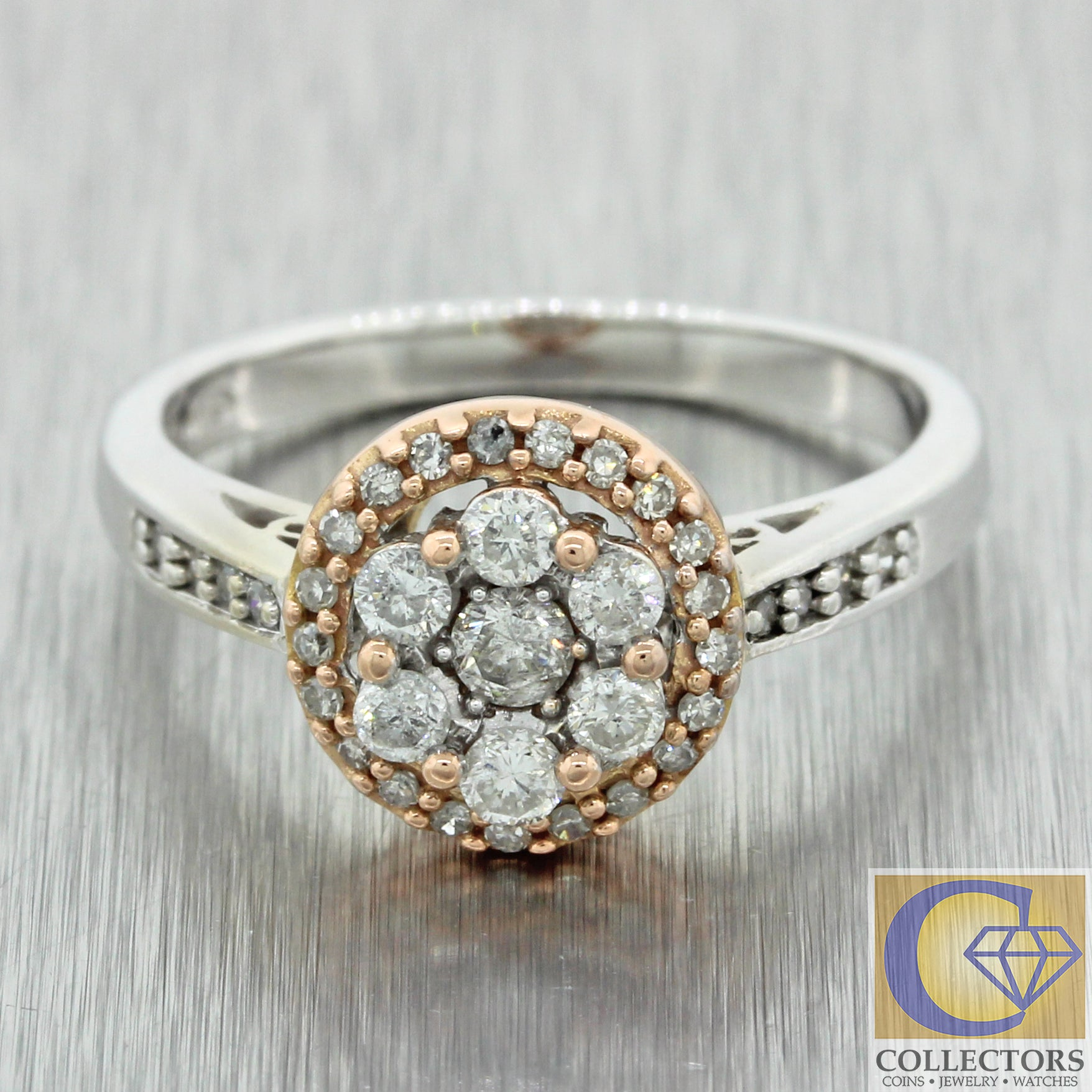 Modern Estate Solid 14k Multi Gold .50ctw G SI1 Diamond Halo Engagement Ring