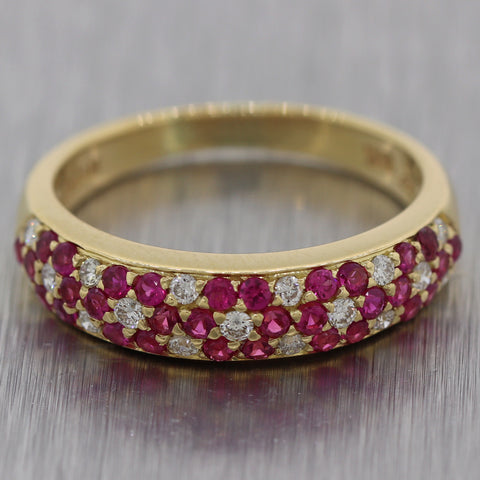 LeVian 18k Yellow Gold 0.80ctw Ruby & Diamond Wedding Band Ring