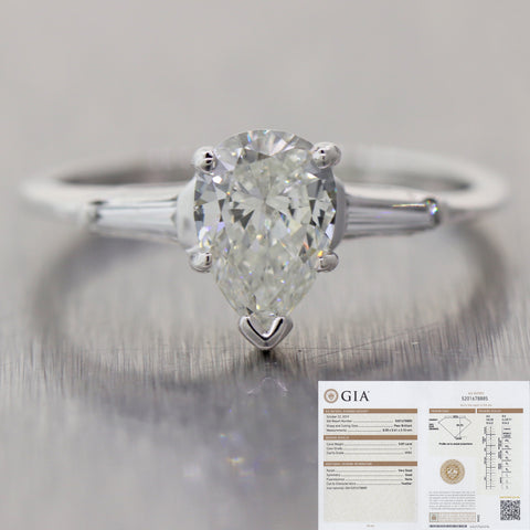 Pear Shape Vintage 0.89ct GIA Diamond 14k White Gold 0.99ctw Engagement Ring