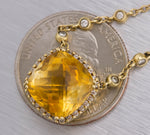 Lovely Ladies 14K Yellow Gold 6.58ctw Cushion Cut Citrine Diamond Necklace