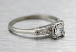 Ladies Estate 14K White Gold 0.33ct Diamond Engagement Wedding Ring Band Set