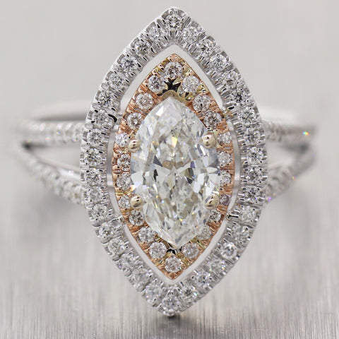 Marquise Cut 0.91ct GIA Diamond 14k Rose&White Gold 1.41ctw Halo Engagement Ring