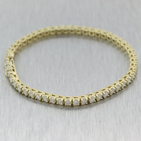 Modern 14k Yellow Gold 3.65ctw Diamond Tennis Bracelet