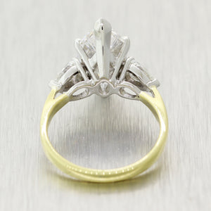 Marquise Cut 3.71ct GIA Diamond 18k Yellow Gold&Platinum 4.51ct Engagement Ring