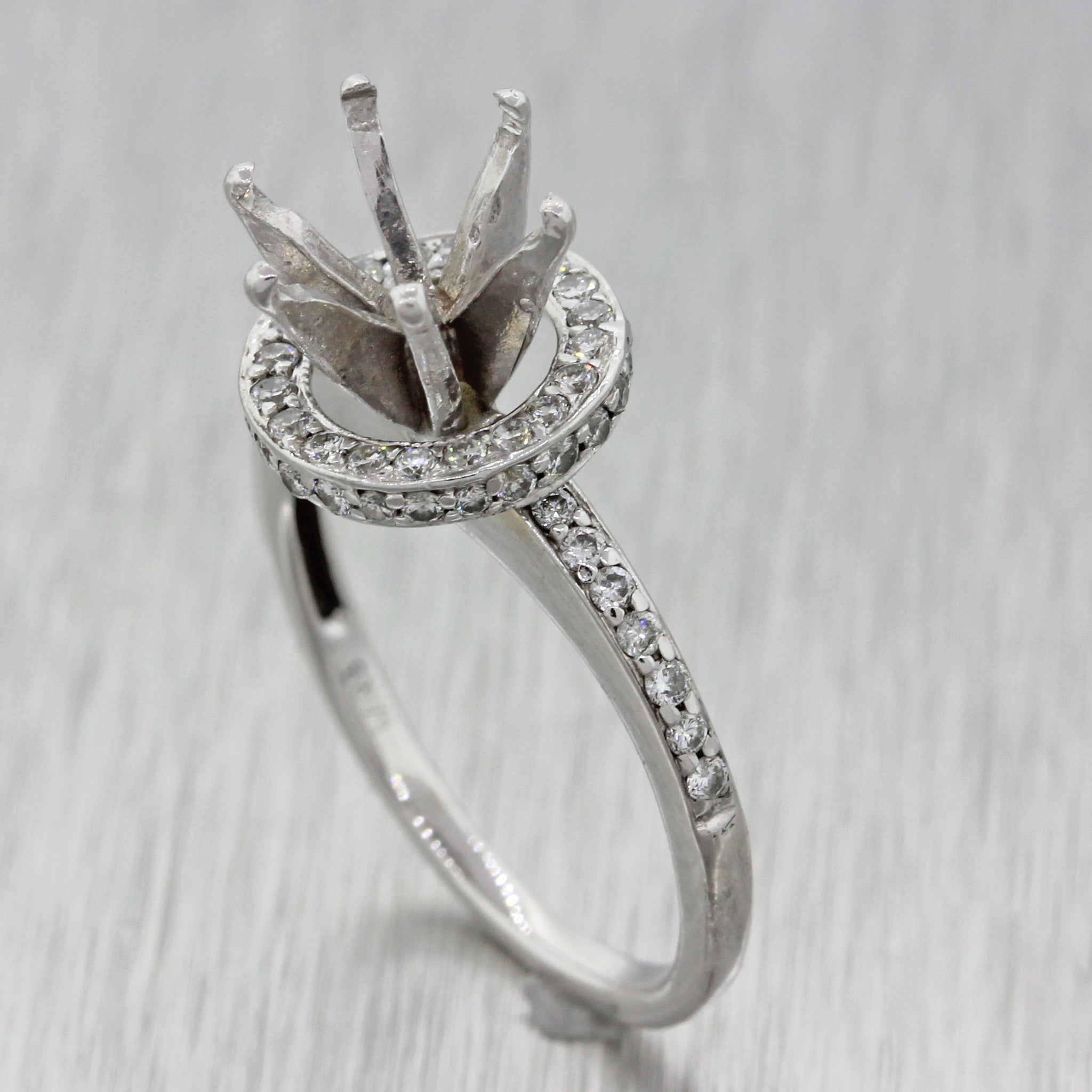 $3500 Modern 18k Solid White Gold .32ctw Diamond Engagement Mounting Ring
