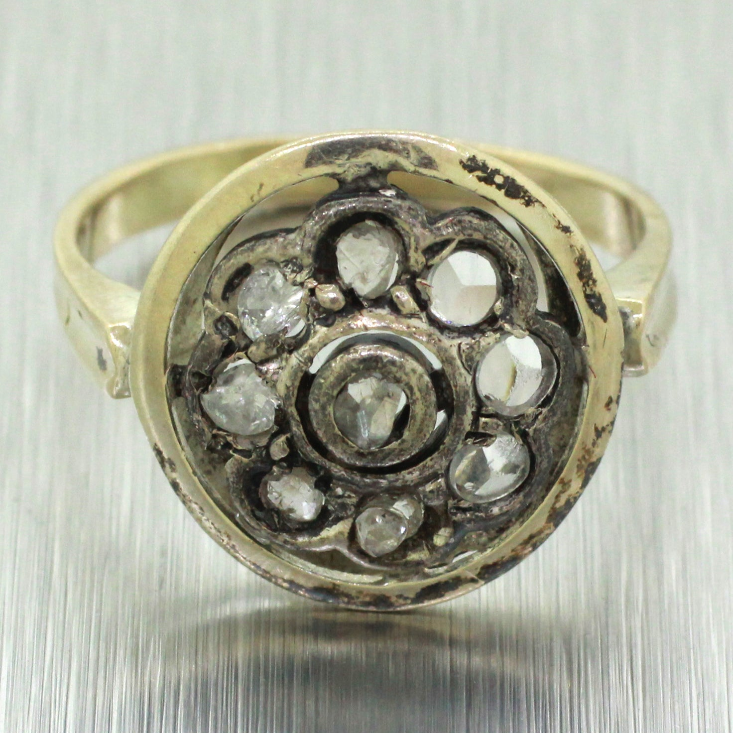 Victorian Antique Solid 14k Gold & Silver Rose Cut Diamond Round Ring