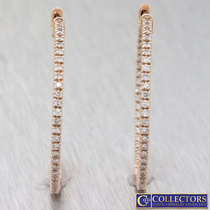 New Modern 14k Rose Gold 1.00ctw Diamond 35mm Hoop In Out Earrings G8
