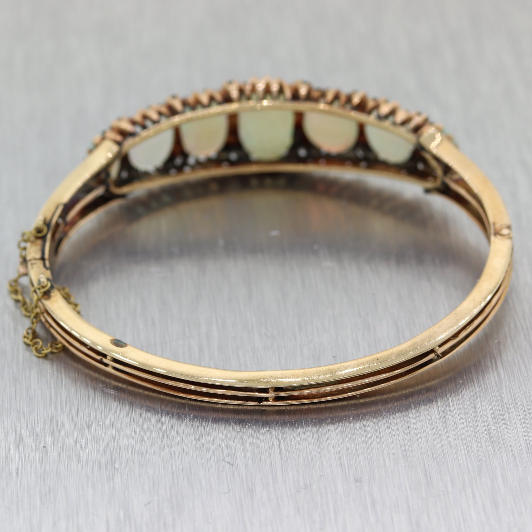 1890's Antique Victorian 14k Yellow Gold 13.25ctw Opal & Diamond Bangle Bracelet