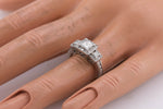 Ladies Art Deco 14K White Gold 0.97ctw Princess Cut Diamond Engagement Ring
