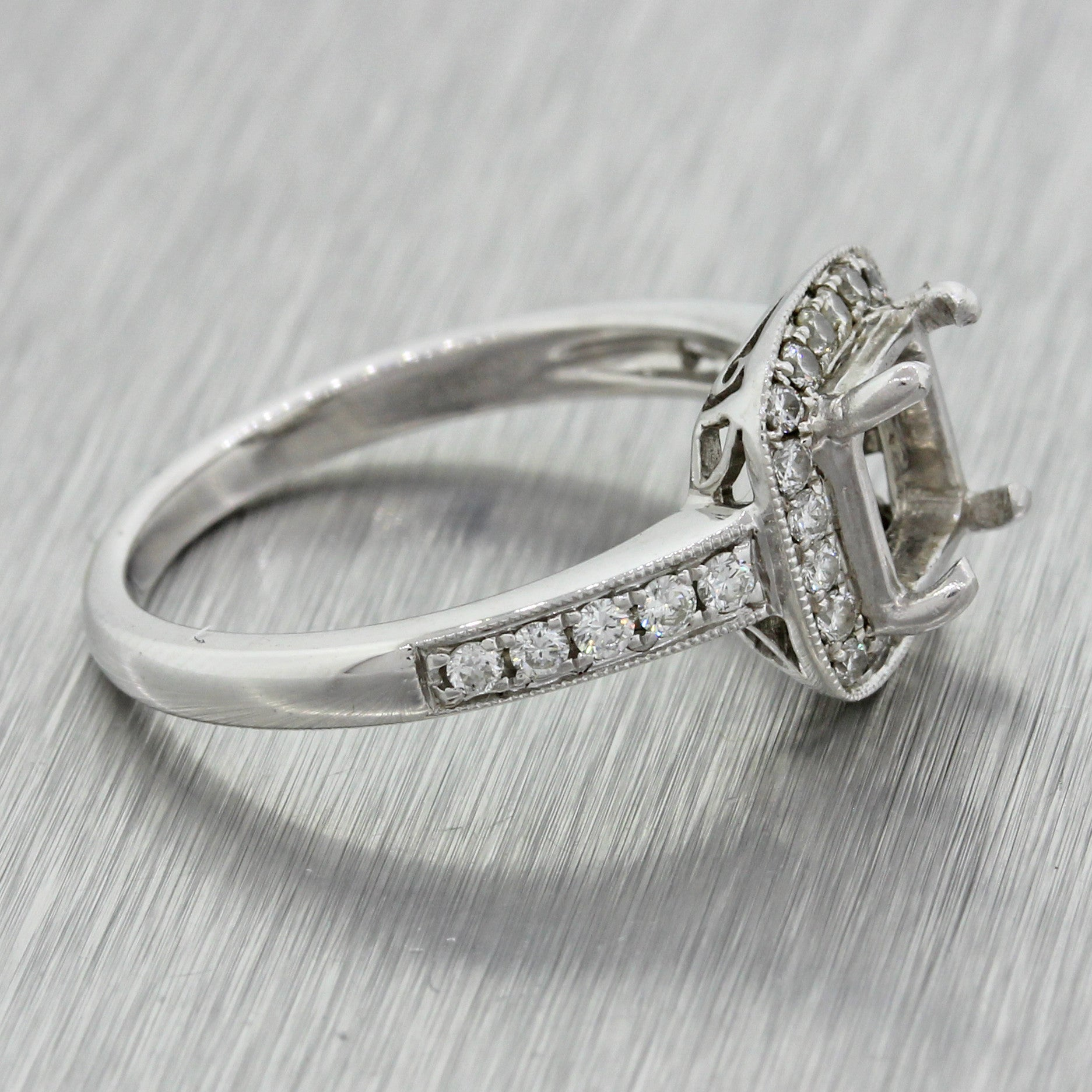 $5000 Modern 14k White Gold .30ctw Diamond Halo Mounting Engagement Ring
