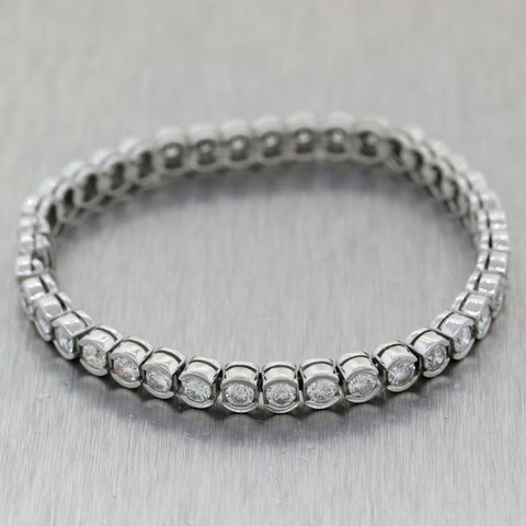 Modern 14k White Gold 7.02ctw Diamond Bezel Set Tennis Bracelet