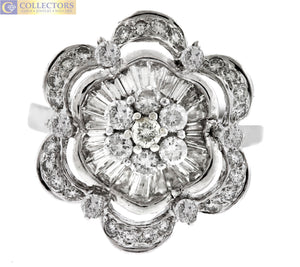 Ladies Estate 18K White Gold 1.45ctw Baguette Diamond Flower Cocktail Ring