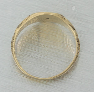 1880s Ladies Antique Victorian 14k Yellow Gold Monogram Engraved Signet Ring