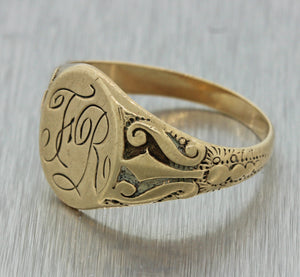 1880s Ladies Antique Victorian 14k Solid Yellow Gold Monogram Engraved Signet Ring