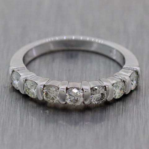 Vintage Estate Platinum 0.70ctw Diamond Wedding Band Ring