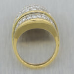 1980's Vintage Estate 18k Yellow Gold 3ctw Diamond Dome Ring