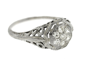 Ladies Antique Art Deco Estate 14K White Gold 0.21ctw Diamond Engagement Ring