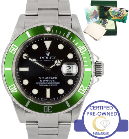 2004 Rolex Submariner Kermit F2 Mark I Green 50th Anniversary 16610 LV Watch