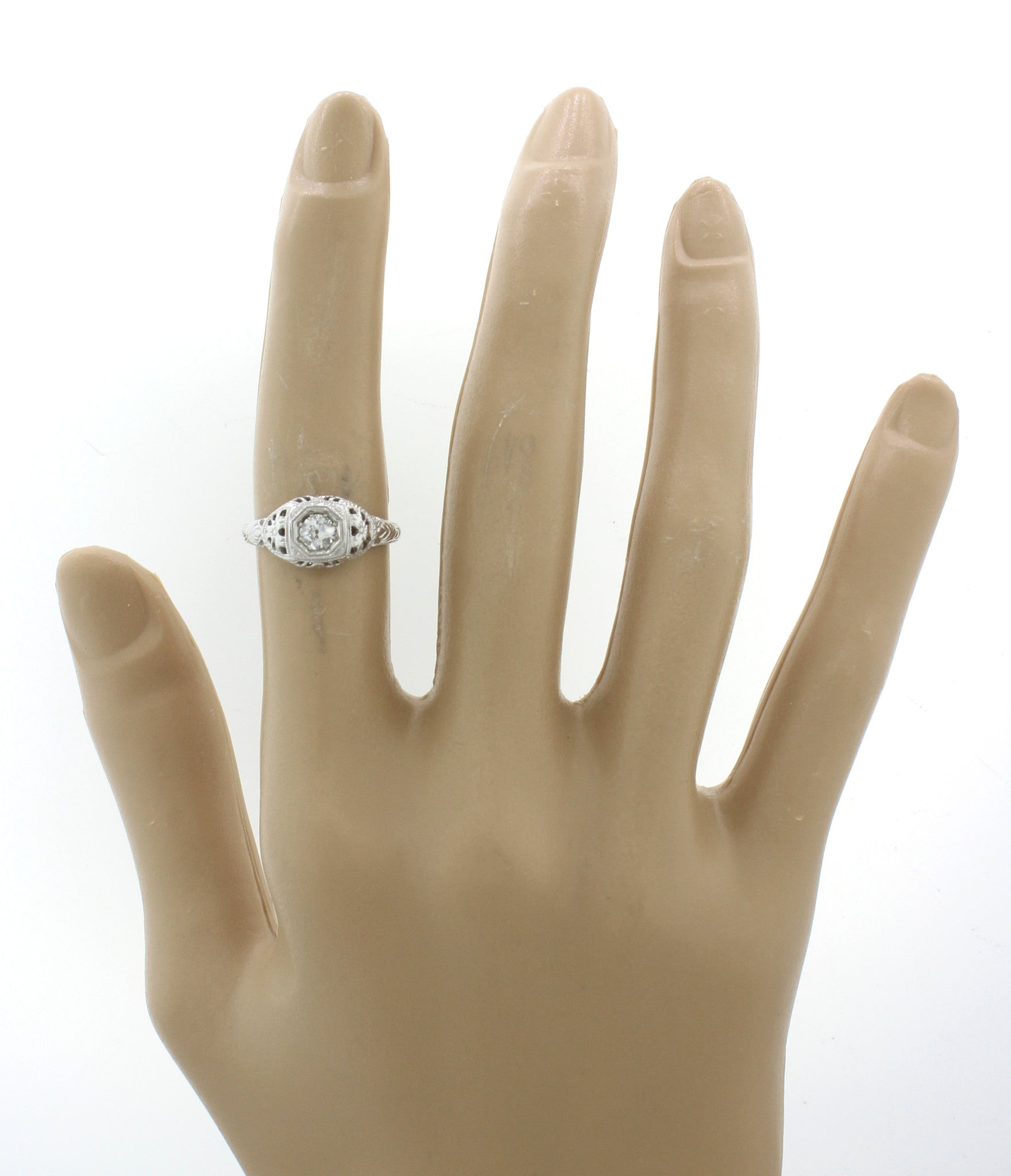 1930s Antique Art Deco 14k Solid Gold .40ct Diamond Filigree Engagement Ring