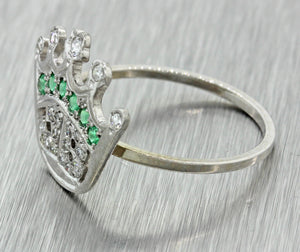1920s Antique Art Deco 14k Solid White Gold Diamond Emerald JB Crown Ring