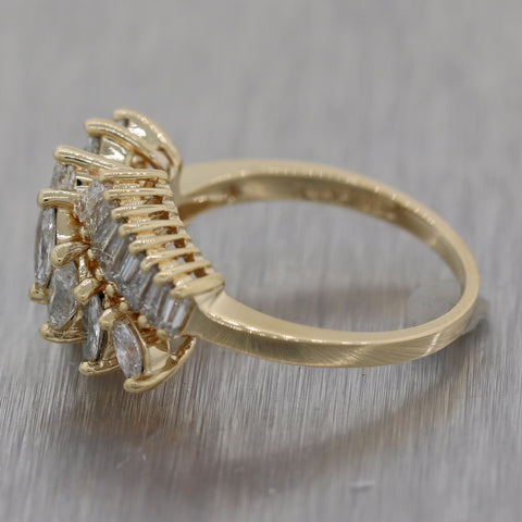 Modern 14k Yellow Gold 1.45ctw Marquise & Baguette Cut Diamond Ring