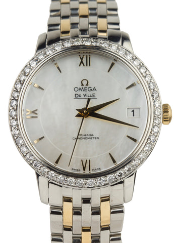 Ladies Omega DeVille Mother of Pearl 32.7mm Diamond Bezel Automatic Watch