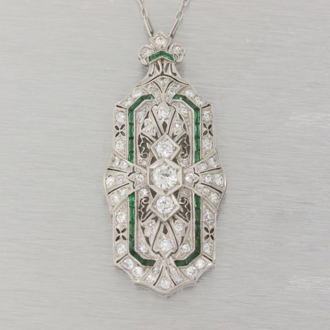 "1920's Antique Art Deco Platinum 2.5ctw Diamond & Emerald Pendant 16"" Necklace"