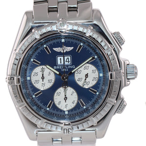 Breitling Windrider Crosswind Blue 44mm Steel A44355 Chronograph Big Date Watch